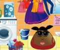 Pou Girl Washing Clothes And Shoes