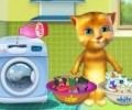Talking Ginger Washing Clothes
