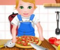 Baby Juliet Cooking Pizza